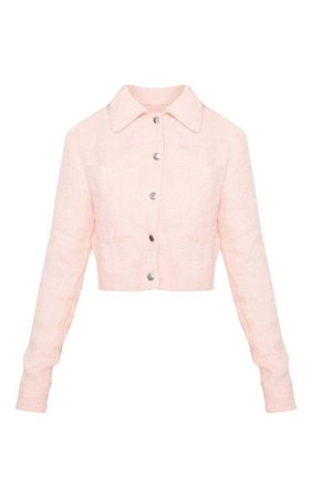 Pastel Pink Boucle Crop Jacket | PrettyLittleThing