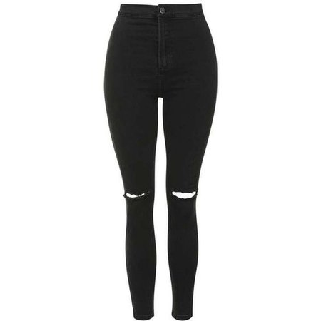 TopShop Moto Washed Black Ripped Joni Jeans