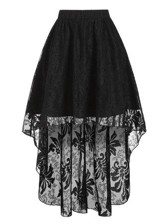 [35% OFF] Plain High Waist High Low Lace Skirt   Rosegal