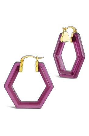 Sterling Forever Sangria Lucite Hoop Earrings | Nordstrom