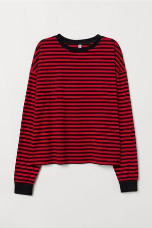Striped Jersey Top - Red/black striped - | H&M US