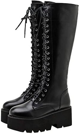 Amazon.com   Parisuit Women's Knee High Goth Platform Buckle Boots Chunky High Heel Lace Up Punk Combat Boots with Chain-Black Size 4   Knee-High