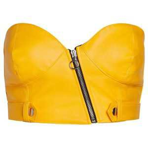 Yellow Leather Tube Top