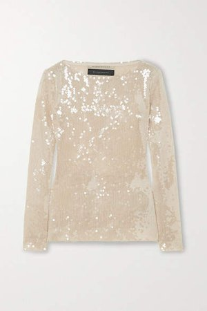 Mosta Cutout Sequined Tulle Top - Gold