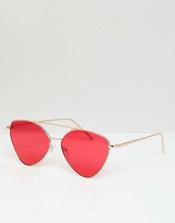 AJ Morgan   AJ Morgan metal aviator sunglasses in gold/red