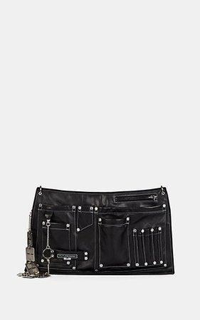 Marine Serre Leather Belt Bag In Black