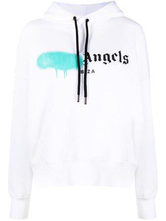Palm Angels Logo Print Cotton Hoodie - Farfetch