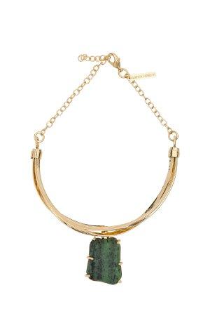 Alberta Ferretti Green Stone Charm Necklace