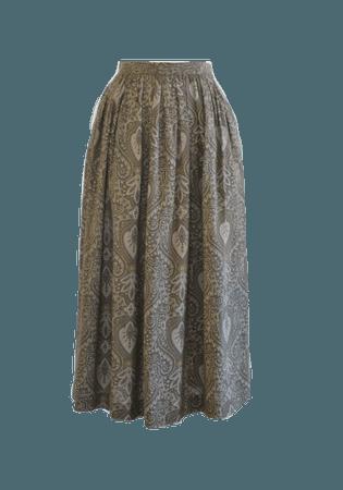 Llen Tracy Paisley Skirt 80s Midi Skirt 25 Inch Waist | Etsy