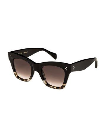 Celine Two-Tone Gradient Cat-Eye Sunglasses, Black | Neiman Marcus