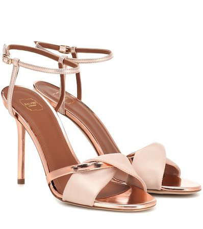 Terry 100 satin and leather sandals