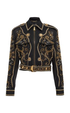 Stud Embellished Jacket by Versace   Moda Operandi