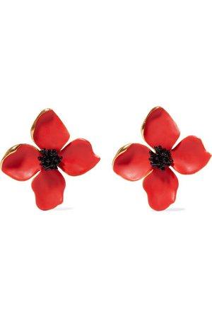 Oscar de la Renta   Painted Flower Button gold-tone and resin clip earrings   NET-A-PORTER.COM