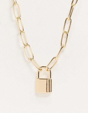 Золотистое ожерелье-цепочка с подвеской в виде замка ASOS DESIGN | ASOS