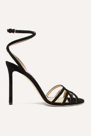 Black Mimi 100 suede sandals | Jimmy Choo | NET-A-PORTER