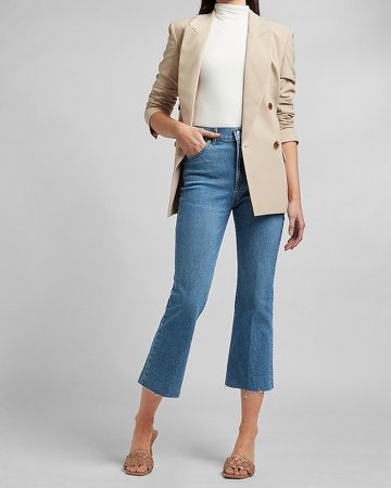 High Waisted Raw Hem Cropped Flare Jeans
