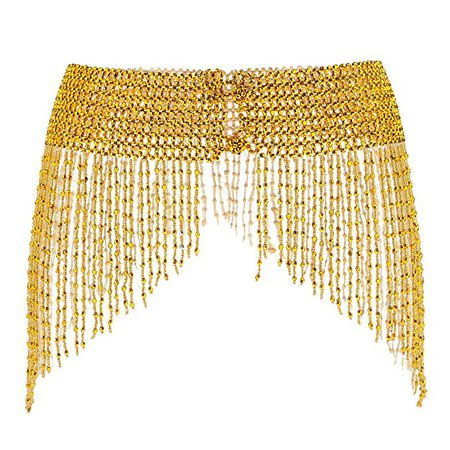 Amazon.com: Blesiya Vintage Gold Silver Triangle Belly Dance Beads Tassel Hip Scarf Wrap Waistband Belt Skirt Dancing Accessory - Dark gold, as described: Clothing