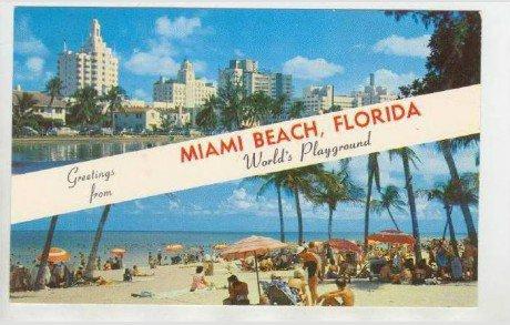 Split View, Greetings From Miami Beach, Florida,1940-60s / HipPostcard