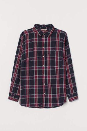 H&M+ Plaid Cotton Shirt - Blue