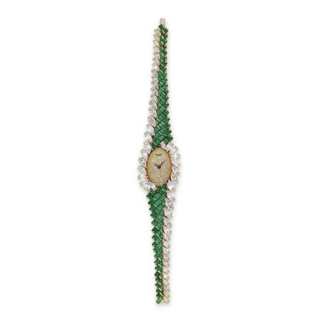 EMERALD AND DIAMOND WATCH, BY PIAGET