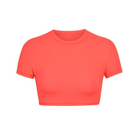 Fits Everybody Super Cropped T-Shirt - Neon Coral | SKIMS