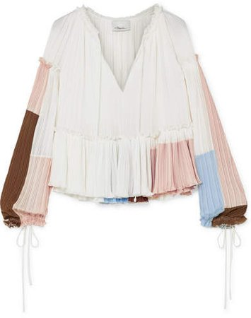 Pleated Color-block Crepe Blouse - White