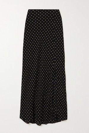 Camara Polka-dot Crepe Midi Skirt - Black