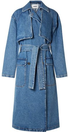 Oversized Denim Trench Coat - Mid denim
