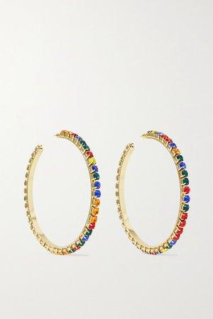 Gold Gold-tone crystal hoop earrings | AREA | NET-A-PORTER