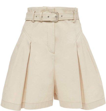 Alberta Ferretti Belted Stretch Cotton-Gabardine Shorts