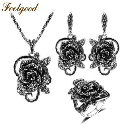 Feelgood-Silver-Color-Vintage-Jewellery-Set-Fashion-Black-Crystal-Flower-Jewelry-Sets-For-Women-Wedding-Party.jpg (800×800)