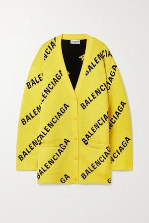Intarsia Cotton-blend Cardigan - Bright yellow
