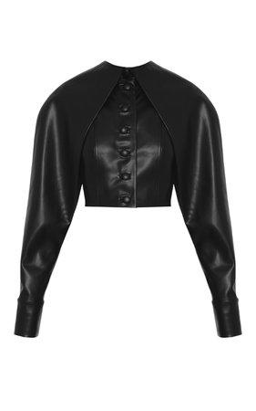 Aleksandre Akhalkatsishvili Cropped Faux Leather Jacket