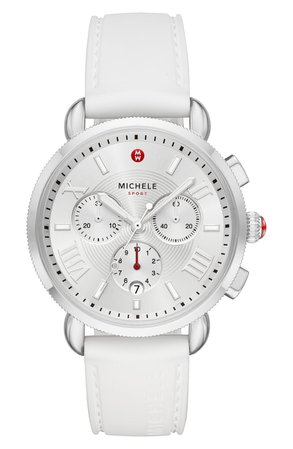 MICHELE Sport Chronograph Watch Head with Silicone Strap, 38mm   Nordstrom