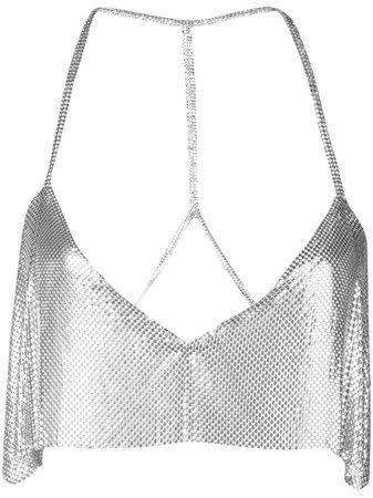 Fannie Schiavoni Sequin Embroidered Top 21916 Silver   Farfetch