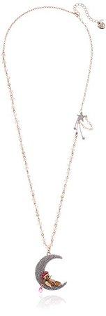 Betsey Johnson Bear & Moon Pendant Long Necklace, Blush, One Size: Clothing