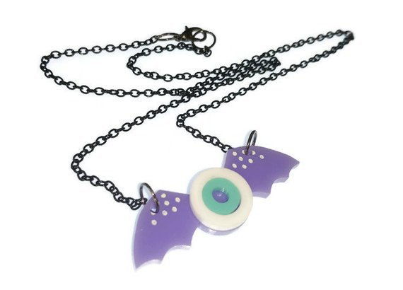 Pastel Goth Necklace Lilac Wing Eyeball Necklace Creepy Cute | Etsy