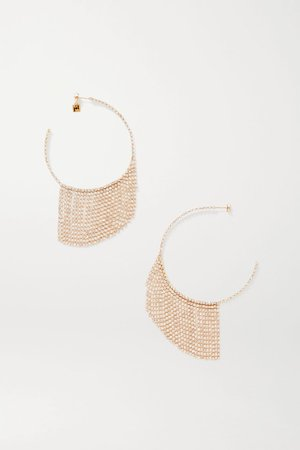 Gold Tasseled gold-tone and crystal hoop earrings | Rosantica | NET-A-PORTER