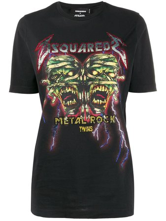 Black Dsquared2 Rhinestone Embellished Rock Print T-shirt | Farfetch.com
