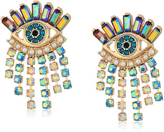 """Betsey Johnson """"Mystic Baroque"""" Queens Colorful Evil Eye and Fringe Stud Earrings: Jewelry"""