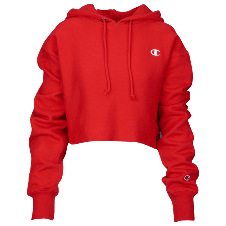 red champion cropped hoodie