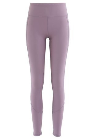 Side Pockets Seam Detail Ankle-Length Leggings in Purple - Retro, Indie and Unique Fashion