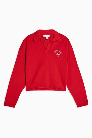 PETITE Red Long Sleeve New York Rugby Top | Topshop