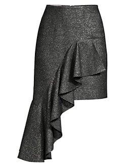 Michael Kors Collection Cascade Metallic Wool Ruffle Mini Skirt