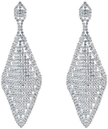 Amazon.com: CHRAN Rhombus Shape Silver Rhinestone Wedding Drop Chandelier Dangle Long Earrings for Women: Jewelry