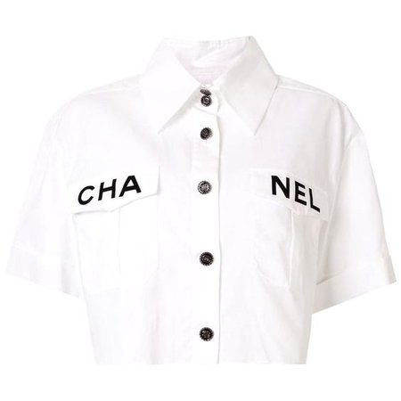 Chanel Runway White Cotton Black 'CHANEL' Short Sleeve Button Collar Shirt