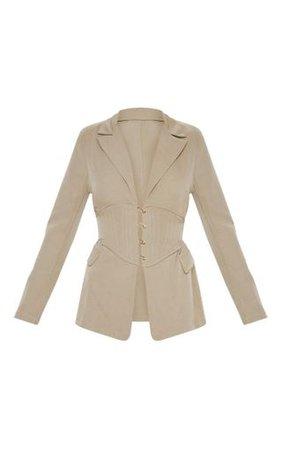Khaki Corset Woven Blazer | Coats & Jackets | PrettyLittleThing