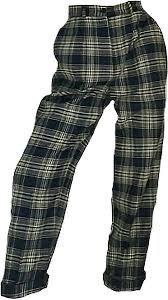 green-ish plaid pants !!