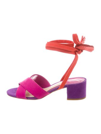 Brian Atwood Suede Wrap-Around Sandals - Shoes - BRI26832 | The RealReal