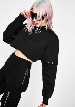 Current Mood Streetwear Convertible Crop Sweater Punk Black | Dolls Kill